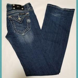 Miss Me Low Rise Boot Cut Jeans w/ Flap Pockets